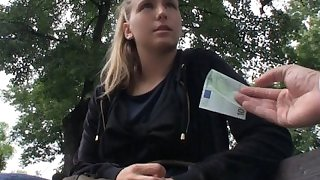 Natural blonde Czech girl is picked up for public sex