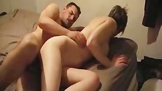Amateur with big tits does anal first time